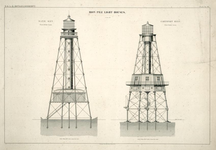 Iron Pile Light Houses Sand Key and Carysfort Reef NA RG 26 (92) copy